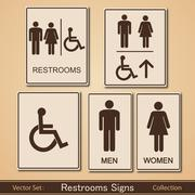 Restroom signs vector collection - stock illustration