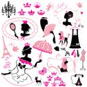 Stock Illustration of fairytale set - silhouettes of princess girls with accessories, crowns and pe