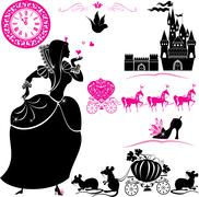 fairytale set - silhouettes of cinderella, pumpkin carriage with mouses, cast - stock illustration
