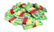 Stock Illustration of australian dollar notes scattered pile