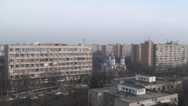 Stock Video Footage of Communist Era Apartment Buildings Aerial Still-Shot