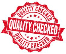 Quality checked grunge red vintage round isolated seal Stock Illustration