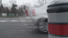 Macro-Shot Of A Pole And Traffic Front-Shot Stock Footage