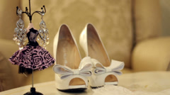 Bride wedding shoes and accessories Stock Footage