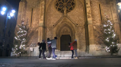 Group of dancers dancing near a church Stock Footage