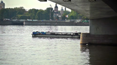 Tourists having an excursion boat trip on Neva river Stock Footage