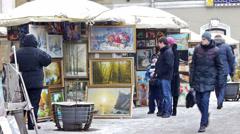 Street vending: artists selling paintings, Saint Petersburg Stock Footage