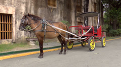 Horse-drawn carriage red Stock Footage