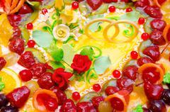 fruit wedding cake - stock photo