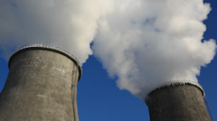 Power plant chimney with icicles, wide shot Stock Footage