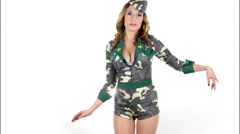 Sexy army military babe Stock Footage
