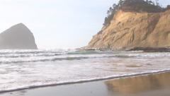 Scenic Oregon Coast Reveal Wide Angle Stock Footage