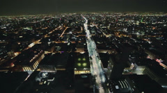 Stock Video Footage of Mexico city by night aerial shot