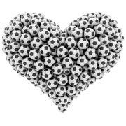 heart shape composed of many soccer balls isolated on white - stock illustration