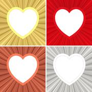 Set of blank heart shaped frames on metallic background Stock Illustration