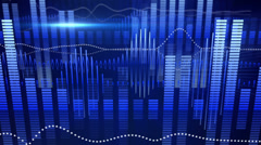 Blue equalizer audio waveform loopable background Stock Footage
