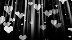 Hearts Particles 2 BnW Stock Footage