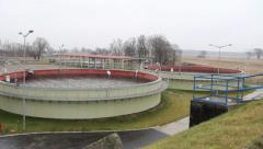 Sewage treatment plant - Waste water treatment - aerobic stabilization chambers. Stock Footage
