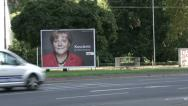 Stock Video Footage of Angela Merkel poster during presidential campaign
