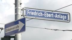 Street sign in Frankfurt Stock Footage