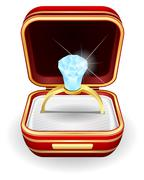 engagement rings in gift box - stock illustration
