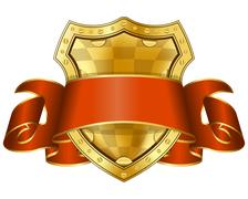 Gold shield with red ribbon Stock Illustration