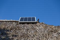 Solar energy in ecologycal build Stock Photos