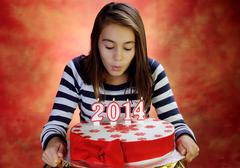 Girl with a beautiful cake for the new year Stock Photos