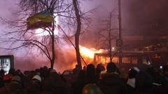 UKRAINE, KIEV, JANUARY 19, 2014: Anti-government protest in Kiev, Ukraine Stock Footage