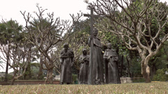 Gomburza priests statues Stock Footage