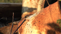 Old Rusty Rusted Barrels Oil Drums Rack Focus Stock Footage