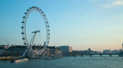 London Eye Millennium Wheel dusk time lapse. 4K version Stock Footage
