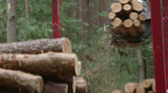 Forestry - loading wood logs - stock footage
