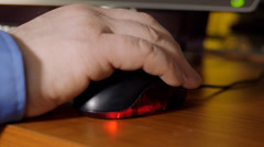 Close up of man using computer mouse Stock Footage
