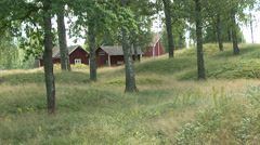 Red Swedish Cottages Forest Pan Right Stock Footage