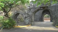 Stock Video Footage of fort santiago wall