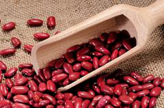 red beans on a canvas - stock photo