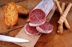 salami and grissini - stock photo