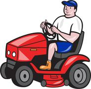 gardener mowing rideon lawn mower cartoon - stock illustration