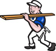 Carpenter worker carrying timber cartoon Stock Illustration