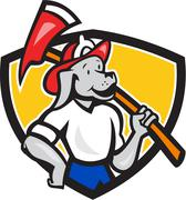 dog fireman firefighter fire axe shield cartoon. - stock illustration