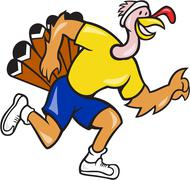 turkey run runner side cartoon - stock illustration