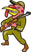 turkey hunter carry rifle shotgun cartoon - stock illustration