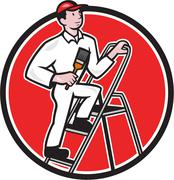 House painter paintbrush on ladder cartoon Stock Illustration