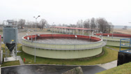 Stock Video Footage of Sewage treatment plant - Waste water treatment - aerobic stabilization chambers.