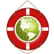 globe and lifesaver - stock illustration
