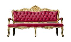 Vintage luxury red sofa armchair isolated on white Stock Photos