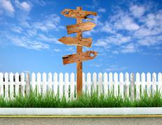 wooden signpost - stock photo