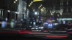 Night traffic ground view in Moscow, Russia, Sadovoe Koltso street Stock Footage