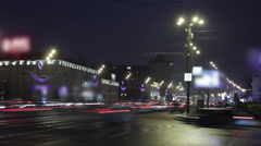 Night traffic ground, crossing of Sadovoe kolstso and Akademika Saharova Stock Footage